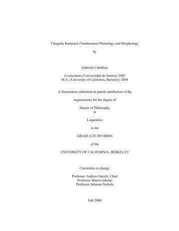 Choguita Rarámuri - Linguistics - University of California, Berkeley