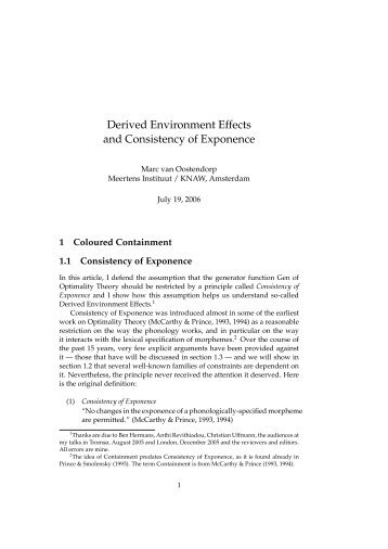 Derived Environment Effects and Consistency of ... - Linguistics
