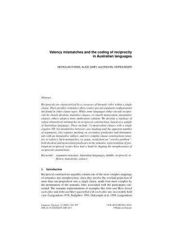 Valency mismatches and the coding of reciprocity in ... - Linguistics