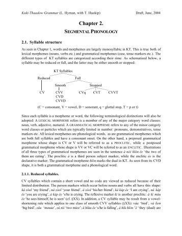 Kuki-Thaadow Segmental Phonology - Linguistics