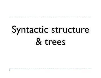 Syntactic knowledge