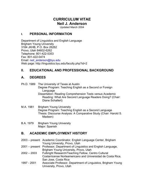 Curriculum Vitae Neil J Anderson Department Of Linguistics