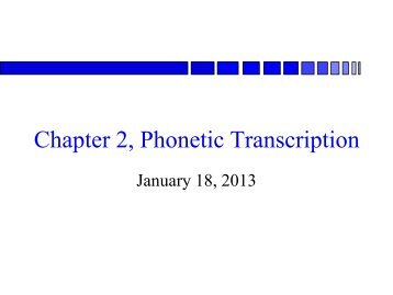 Phonology and Phonetic Transcription
