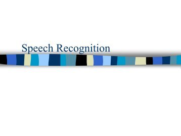 Speech Recognition - Department of Linguistics and English ...
