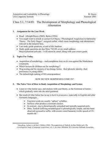The Development of Morphology - UCLA Department of Linguistics