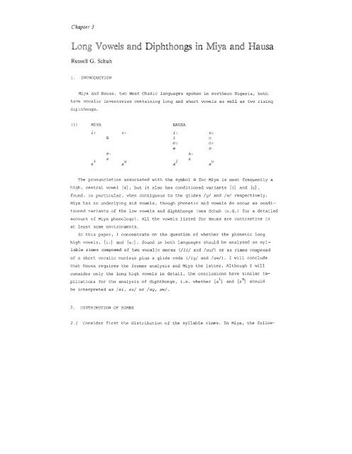 Long Vowels and Diphthongs in Miya and Hausa - UCLA