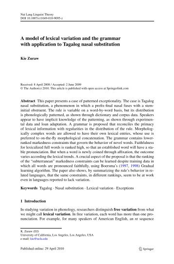 A model of lexical variation and the grammar with application to ...