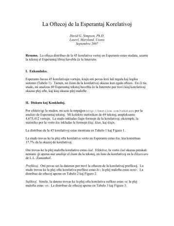 La Oftecoj de la Esperantaj Korelativoj (PDF-dosiero) - Lingva Kritiko