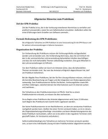 Allgemeine Hinweise zum Praktikum - Hochschule Niederrhein