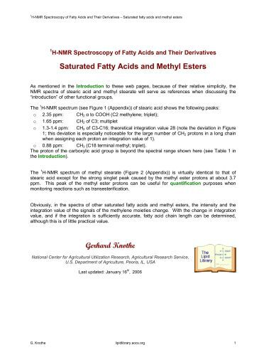 Saturated Fatty Acids and Methyl Esters Gerhard Knothe - Lipid Library