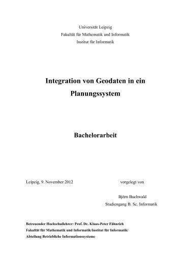 Bachelorarbeit - Integration von Geodaten in ein Planungssystem