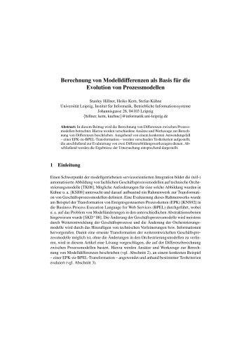 Berechnung von Modelldifferenzen als Basis f¨ur die Evolution von ...