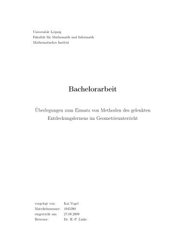 Bachelorarbeit - Dokumentenserver Fakultät für Mathematik und ...