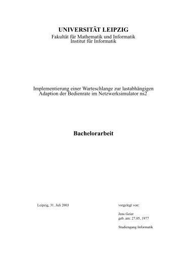 UNIVERSITÄT LEIPZIG Bachelorarbeit - Dokumentenserver Fakultät ...