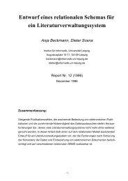 Entwurf eines relationalen Schemas für ein ... - Universität Leipzig