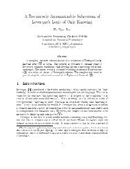 A Recursively Axiomatizable Subsystem of Levesque's Logic of Only ...