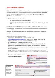 Transferring your RefWorks account - Library & information services