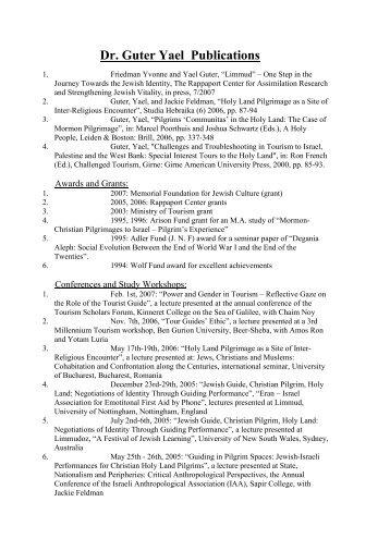 Dr. Guter Yael Publications