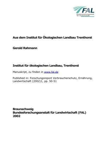 Institut für ökologischen Landbau, Trenthorst - vTI