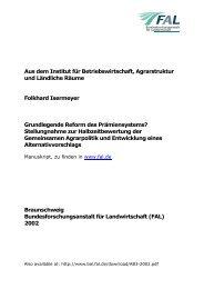 Grundlegende Reform des Prämiensystems? : Stellungnahme ... - vTI
