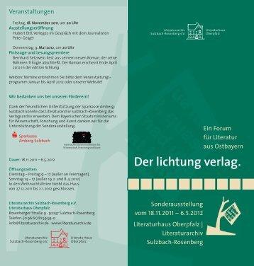 """Programm zur Sonderausstellung """"Der lichtung verlag. Ein Forum ..."""