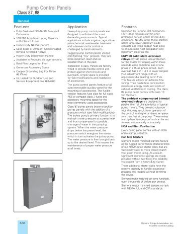 Pump Control Panels - Siemens