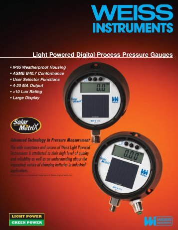 Light Powered Digital Process Pressure Gauges - Weiss Instruments ...
