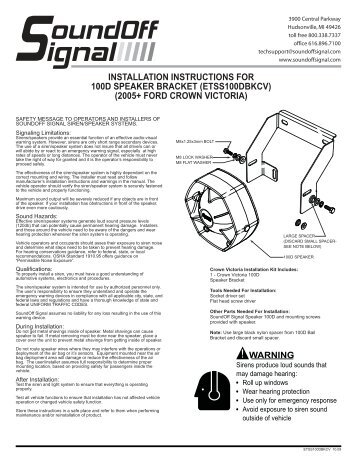 installation instructions for 100d speaker bracket - Puerto Rico ...