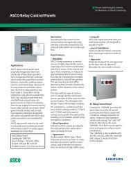 ASCO Relay Control Panels - Emerson Network Power