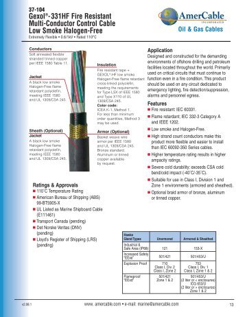 Gexol®-331HF Fire Resistant Multi-Conductor Control Cable Low ...
