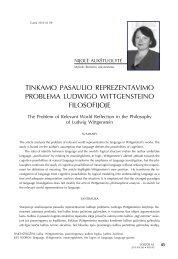 Tinkamo pasaulio reprezentavimo problema Ludwigo ... - Logos