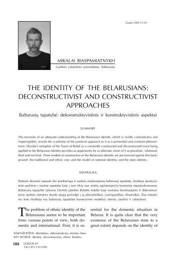 the identity of the belarusians: deconstructivist and ... - Logos