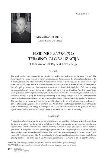 FIzIKInIO energijos teRmInO GLOBALIzAcIjA - Logos