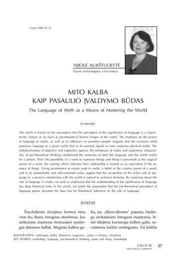 MITO KALBA KAIP PASAULIO ĮVALDYMO BŪDAS - Logos
