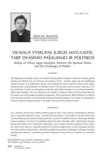VILnIauS VYSKupaS JuRgIS matuLaItIS: taRp DVaSInIO ... - Logos