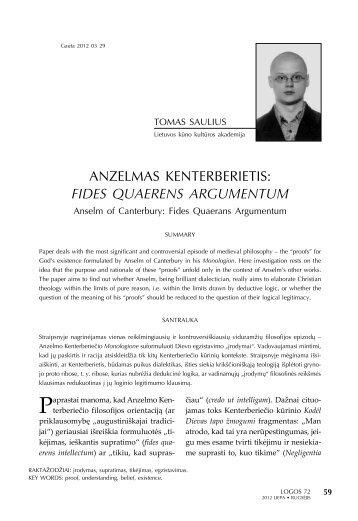 AnzELmAS KEntErbErIEtIS: Fides quaerens argumentum - Logos