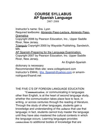 COURSE SYLLABUS AP Spanish Language
