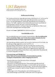 Stellenausschreibung LJKE Bayern