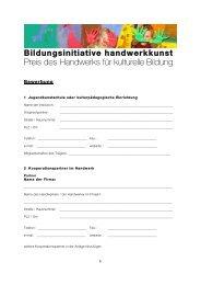 Bewerbungsbogen Bildungsinitiative Handwerkskunst - LJKE Bayern