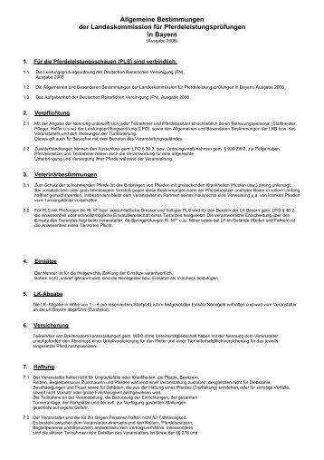 Allgemeine Bestimmungen der LK Bayern - Bayerischer Reit