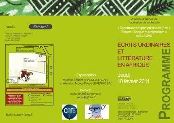 ROGRAMME - Llacan - CNRS