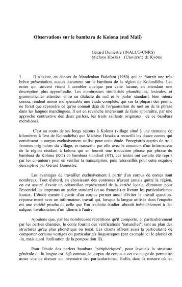 Observations sur le bambara de Kolona (sud Mali) - Llacan - CNRS