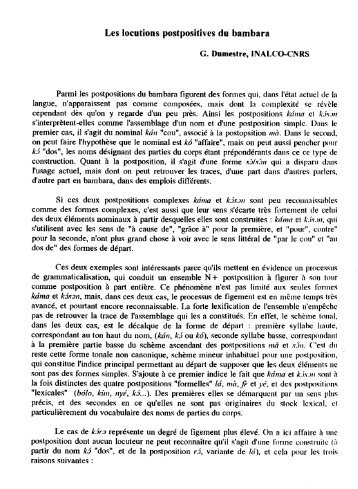 Les locutions postpositives du bambara - Llacan - CNRS