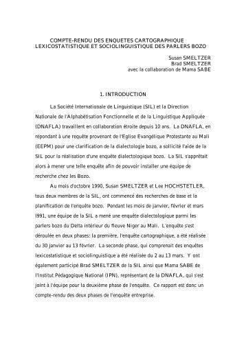COMPTE-RENDU DES ENQUETES CARTOGRAPHIQUE ... - Llacan