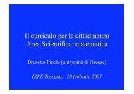 Il curriculo per la cittadinanza Area Scientifica: matematica