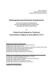 Entwurf eines Gesetzes zur Förderung ... - Deutscher Anwaltverein