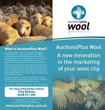 AuctionsPlus Wool A new innovation in the marketing of your wool clip