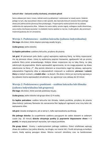 zabawa indywidualna - Logopedia praktyczna