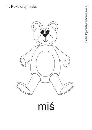 Kolorowanka MIŚ - ściągnij - Logopedia praktyczna - Blox