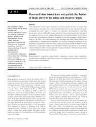 Plant–soil biota interactions and spatial distribution of black cherry in ...